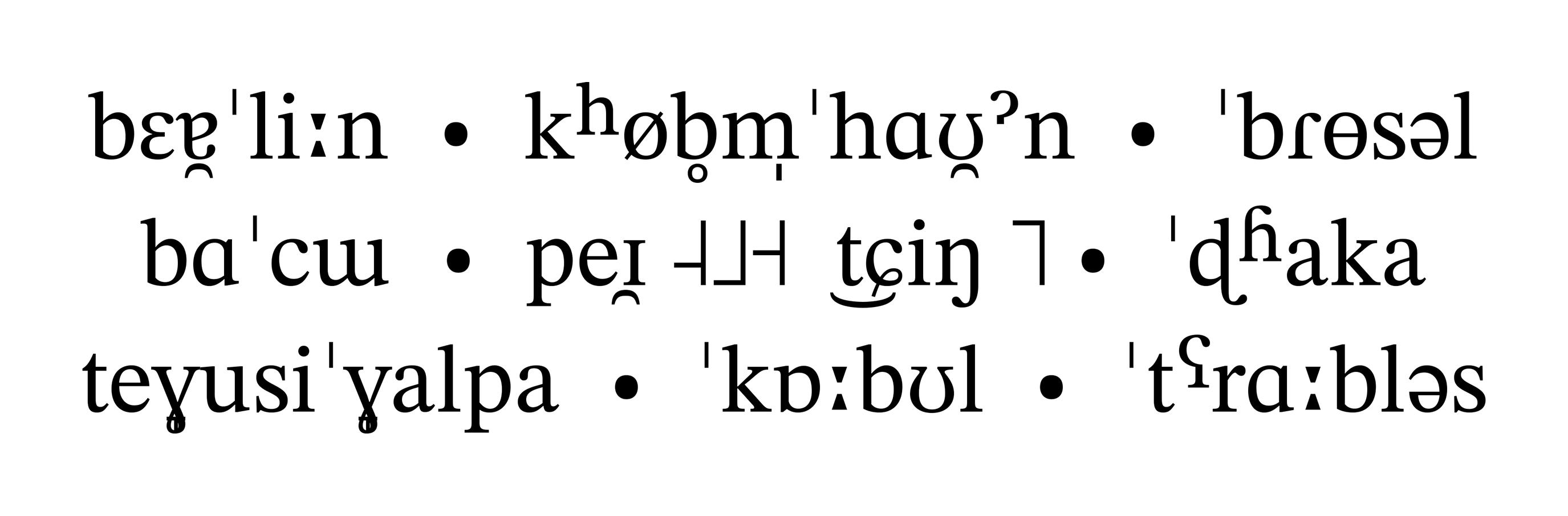 IPA-Schriftmuster der STIX Fonts (Version 2)