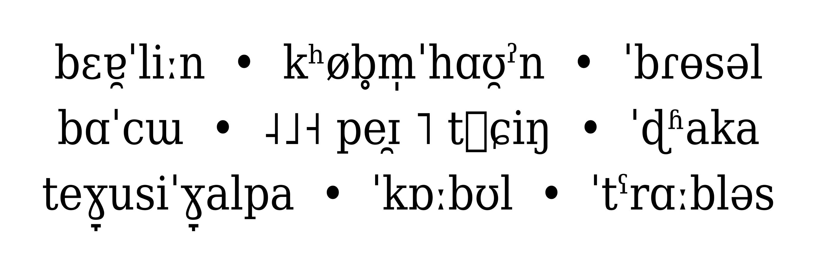 IPA-Schriftmuster der DejaVu Serif