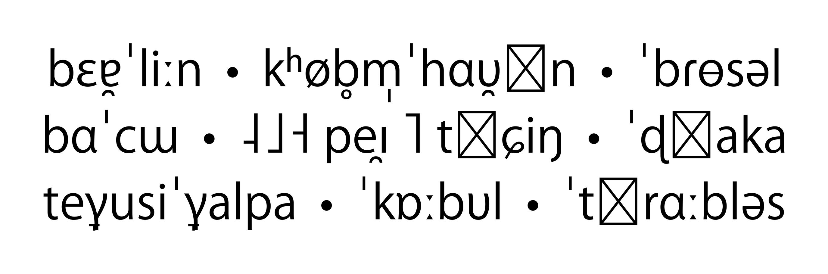 IPA-Schriftmuster der Kozuka Gothic