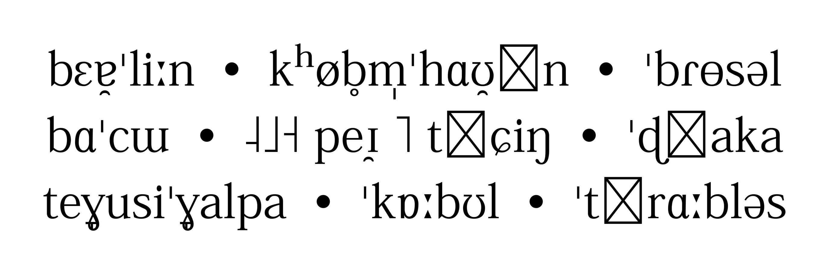 IPA-Schriftmuster der Kozuka Mincho