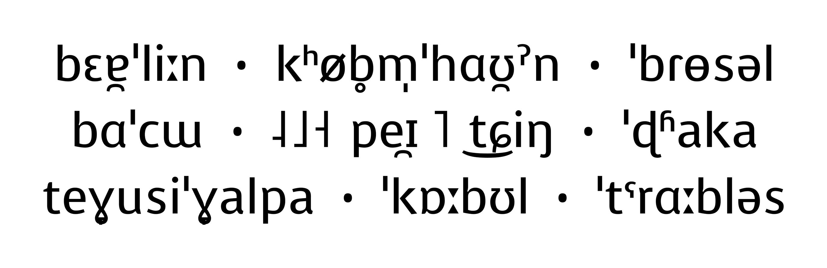 IPA-Schriftmuster der Voces