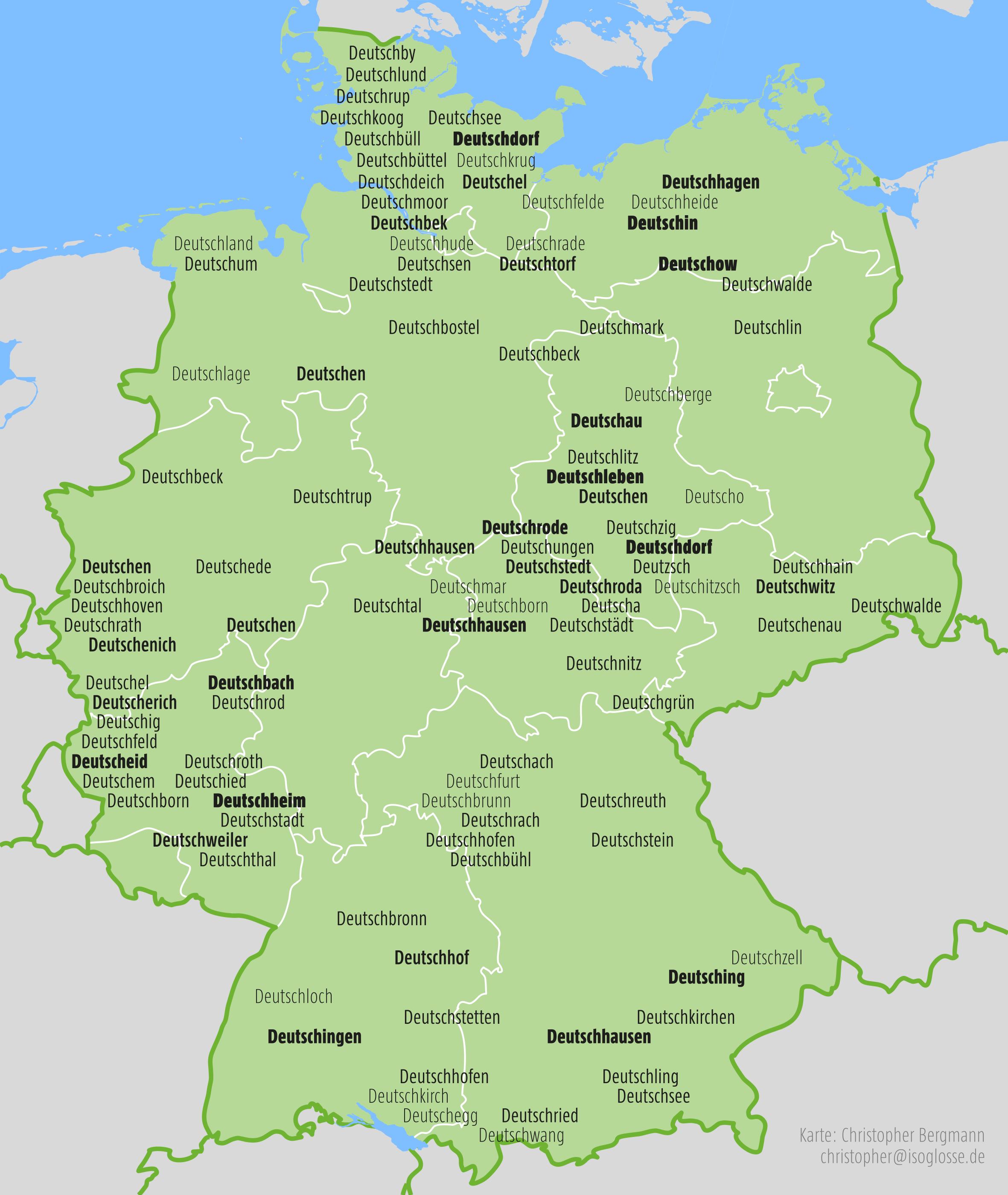 Toponymcluster in Deutschland