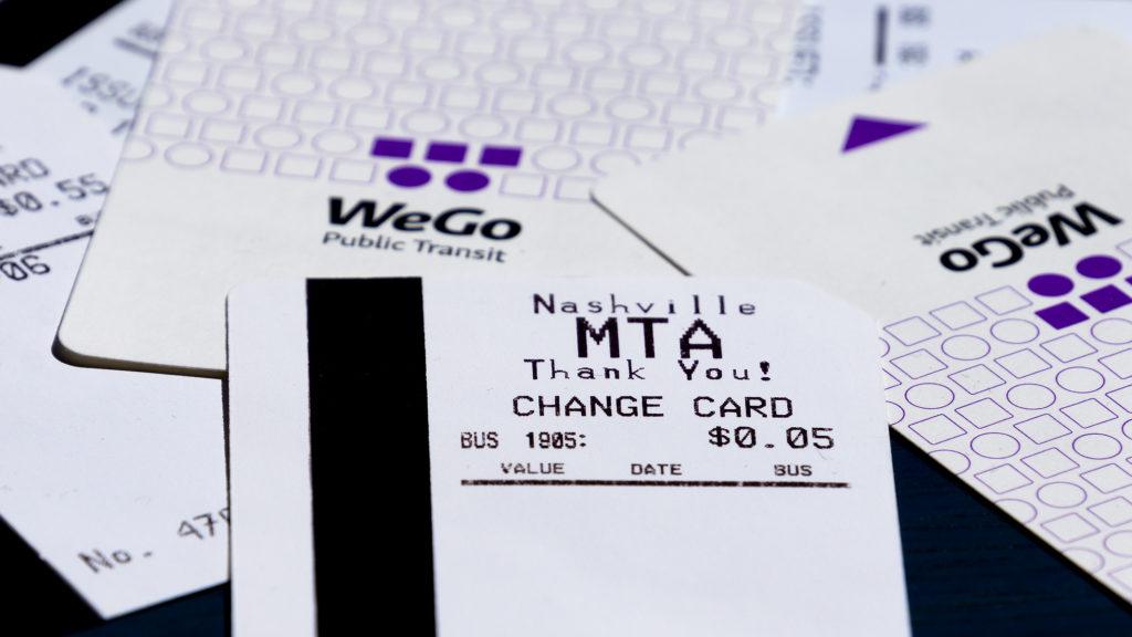Fahrkarten und Change Cards der Nashville MTA